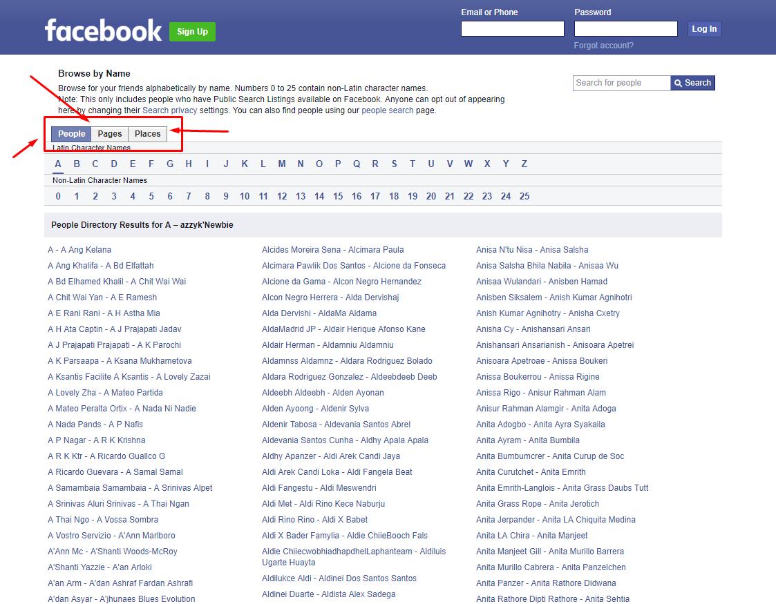 Facebook Directory
