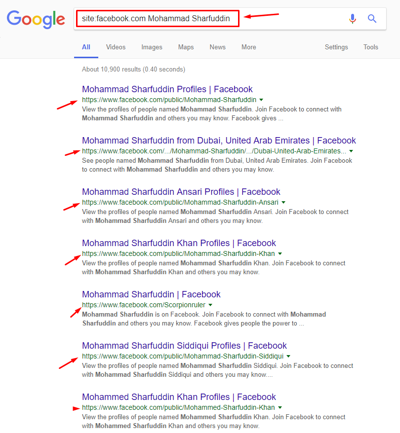 google search for facebook