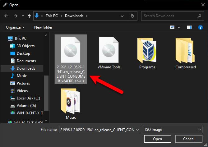 Select Windows 11 ISO File