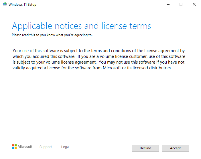 Windows 11 Terms & Conditions PAge